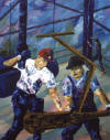 painting of oilmen making a hole