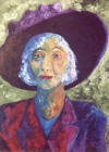 painting of old lady dessed in suit and hat