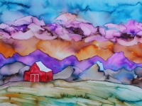 barn-at-sunset-purple-clouds-24x36